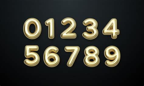 Golden number balloons 0 to 9